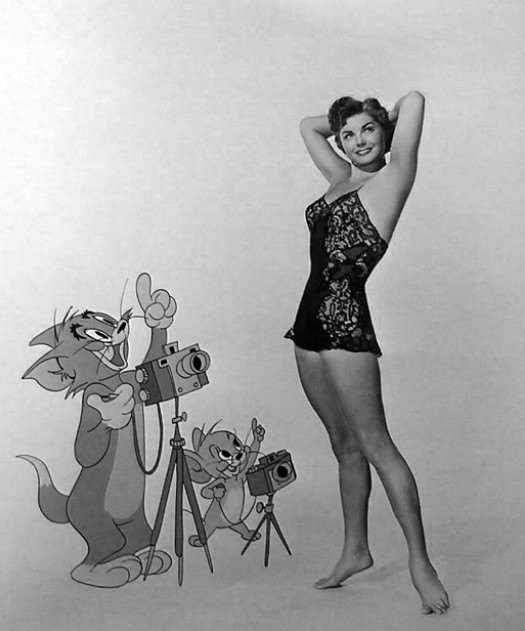 Esther-Williams-promo-with-Tom-and-Jerry-for-Dangerous-When-Wet-1953
