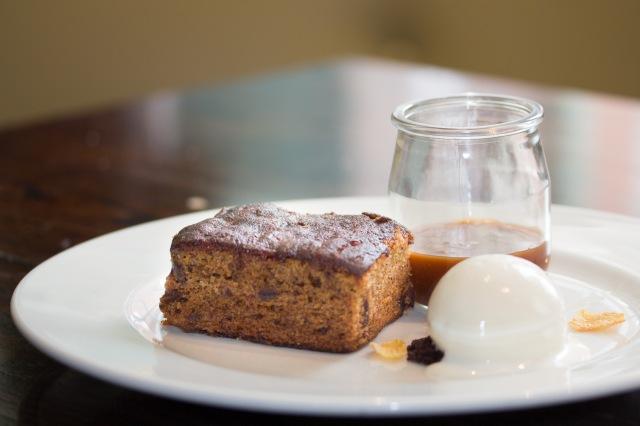 Sticky date pudding, cornflake milk sorbet