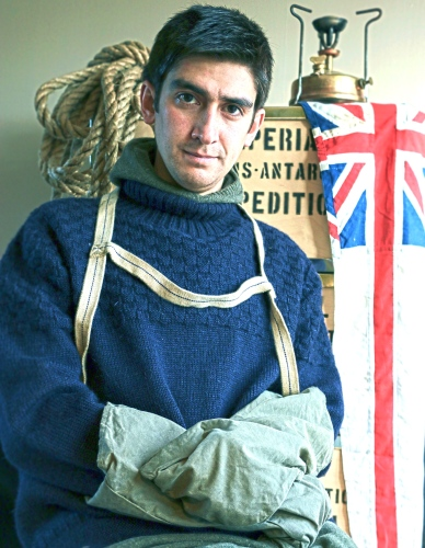 Modern Day Polar Explorer Seb Coulthard sporting a Shackleton Knitwear.